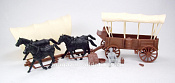 CTS753D Conestoga Wagon (brown) w/2 different (gray) tops, 1:32 ClassicToySoldiers